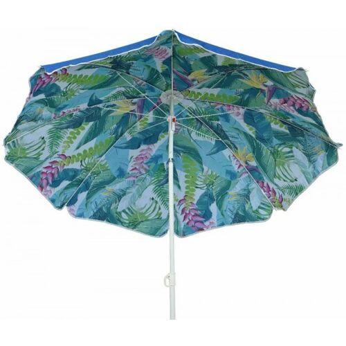 zeitzone Sonnenschirm Palmenblätter Karibik Strand Oben Blau Knickbar Erdspieß Ø 160cm