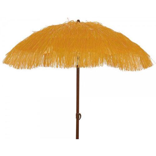 zeitzone Sonnenschirm Strand Hawaii Fransen UV Schutz Erdspieß Knickbar Orange Gelb