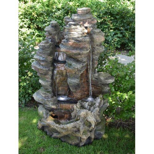 Ubbink AcquaArte Miami Wasserfall Felsstruktur Gartenbrunnen Set LED Springbr...
