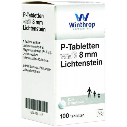P Tabletten Weiß 8 mm 100 Tabletten