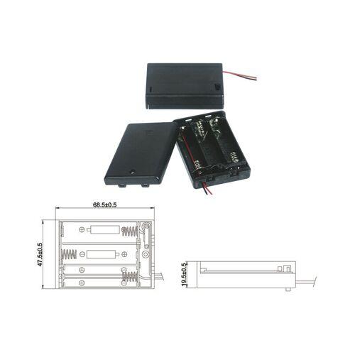 Wentronic Batteriehalter für 3 x Mignon Batterie mit Anschlusskabel