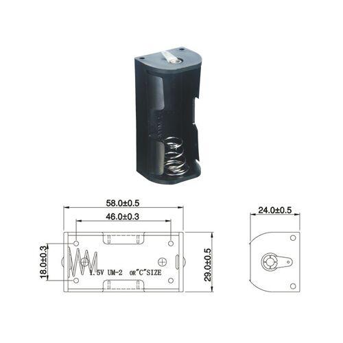 Wentronic Batteriehalter für 1 x Baby Batterie mit Lötanschluss