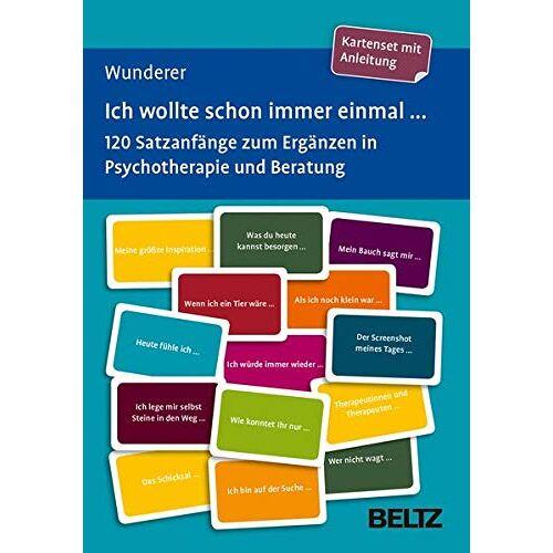 Eva Wunderer - Ich wollte schon immer einmal ...: 120 Satzanfänge zum Ergänzen in Psychotherapie und Beratung. Kartenset mit Anleitung. Mit 12-seitigem Booklet. ... 9,2 cm in stabiler Box (Beltz Therapiekarten) - Preis vom 23.07.2021 04:48:01 h