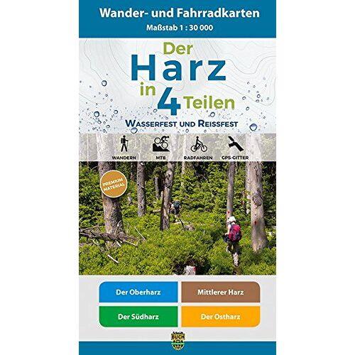 Harzklub e.V. - Der Harz in 4 Teilen: Wasserfestes und Reißfestes Wander- und Fahrradkarten-Set: Der Oberharz • Mittlerer Harz • Der Südharz • Der Ostharz - Preis vom 16.06.2021 04:47:02 h