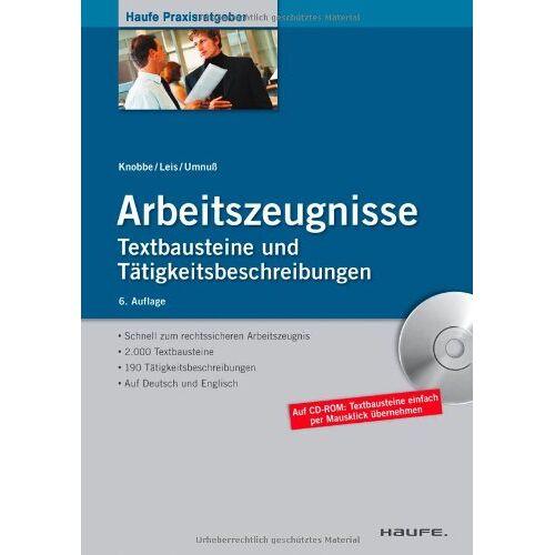 Thorsten Knobbe - Arbeitszeugnisse: Textbausteine und Tätigkeitsbeschreibungen - Preis vom 20.01.2021 06:06:08 h
