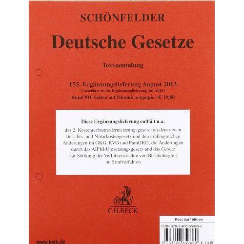 Schönfelder - Schönfelder Ergänzungslieferung 155 (Stand August 2013) - Preis vom 07.09.2020 04:53:03 h