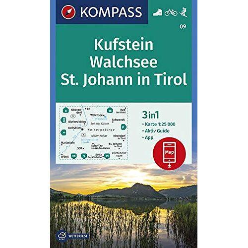 KOMPASS-Karten GmbH - Kufstein, Walchsee, St. Johann in Tirol: 3in1 Wanderkarte 1:25000 mit Aktiv Guide inklusive Karte zur offline Verwendung in der KOMPASS-App. Fahrradfahren. Skitouren. (KOMPASS-Wanderkarten, Band 9) - Preis vom 01.12.2019 05:56:03 h