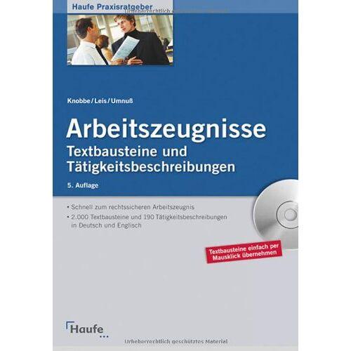 Thorsten Knobbe - Arbeitszeugnisse: Textbausteine und Tätigkeitsbeschreibungen - Preis vom 20.10.2020 04:55:35 h