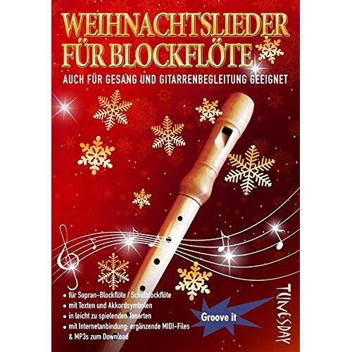 Tunesday Records - Weihnachtslieder für Blockflöte - mit Liedtexten & Akkordsymbolen für Gitarre/Klavier - inkl. MP3 Download - B-Ware - Preis vom 20.10.2020 04:55:35 h