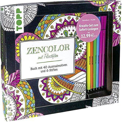 frechverlag - Kreativ-Set Zencolor mit Filzstiften: Buch mit 40 Ausmalmotiven und 6 Filzstiften (Buch plus Material) - Preis vom 28.09.2020 04:48:40 h