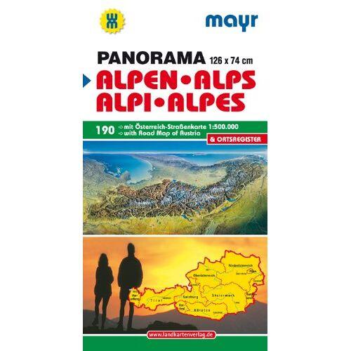 - Alpen - Alps - Alpi - Alpes: Panorama mit Straßenkarte Österreich 1:500000 und Ortsverzeichnis. - Preis vom 21.10.2020 04:49:09 h