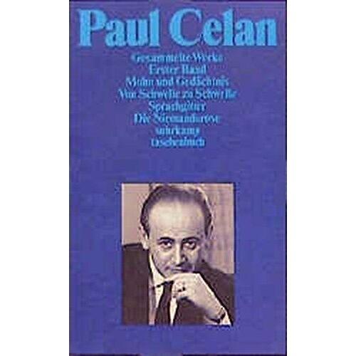 Paul Celan - Paul Celan: Gesammelte Werke, Band 1: Gedichte 1 / Band 2: Gedichte 2 / Band 3: Gedichte 3. Prosa, Reden - Preis vom 06.05.2021 04:54:26 h