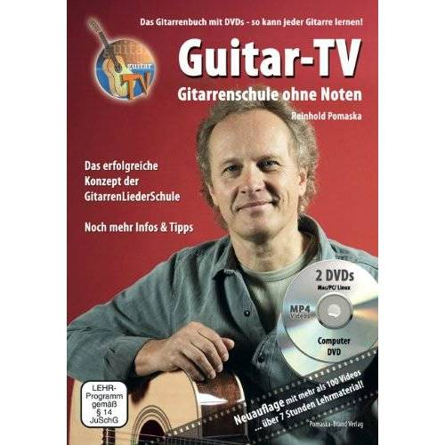 Reinhold Pomaska - Guitar-TV: Gitarrenschule ohne Noten: Das Gitarrenbuch mit 2 DVDs - So kann jeder Gitarre lernen! - Preis vom 24.02.2021 06:00:20 h