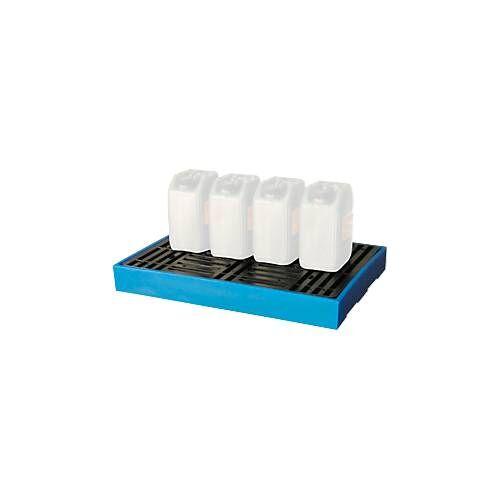 Bodenwanne, für 2 x 100 L  oder 4 x 205 L Fässer, abnehmbares Kunststoffgitterrost