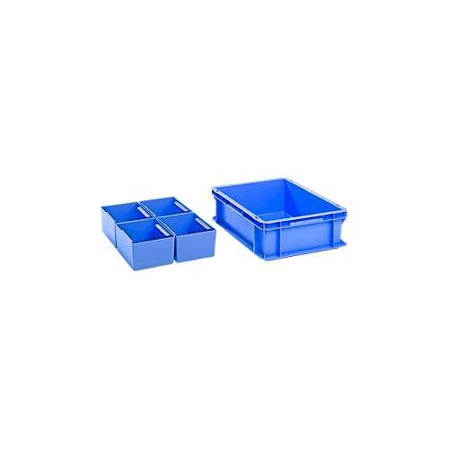 SSI Schäfer Kasten im Euro-Maß , SET, 1 x Kasten im EURO-Maß EF 4120, ohne Deckel + 4 x Einsatzkasten EK 4041