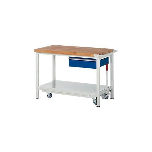RAU Werkbank Serie 8001, fahrbar, absenkbar, Schublade