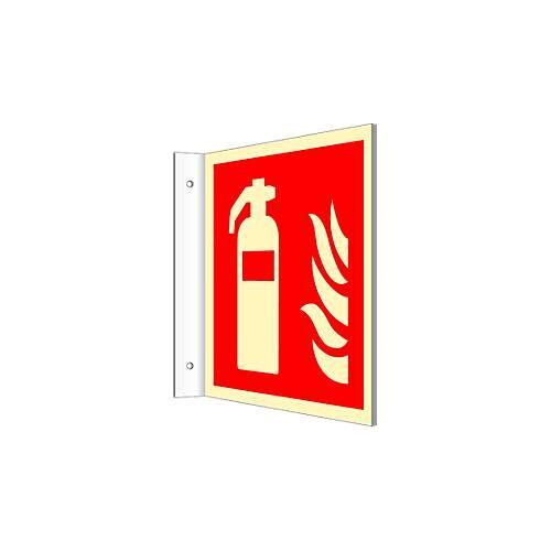 Fahnenschild mit Feuerlöschgerät-Symbol