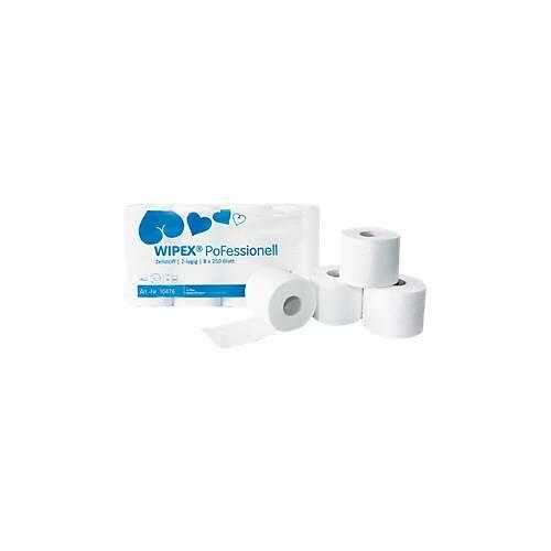 WIPEX Toilettenpapier PoFessional, 250 Blatt pro Rolle, 2- o. 3-lagig, 64 o. 72 Rollen
