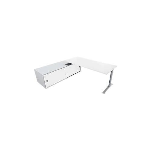 Schreibtisch m. Sideboard li. PHENOR, C-Fuß, Rechteck, B 1800 x T 800 x H 545 mm