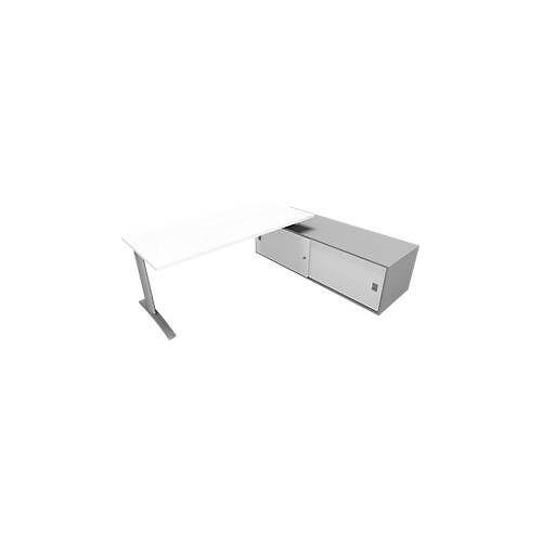 Schreibtisch m. Sideboard re. PHENOR, C-Fuß, Rechteck, B 1800 x T 800 x H 545 mm