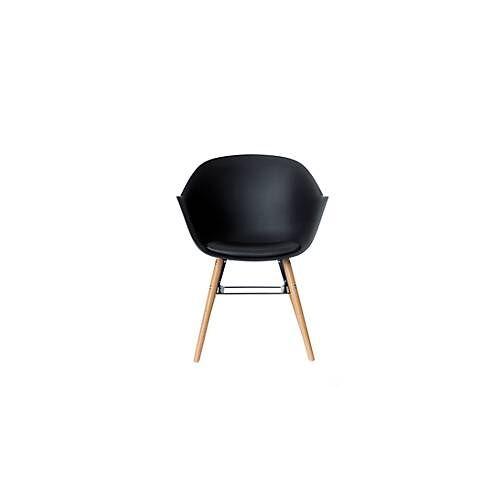 Paperflow Schalenstuhl, ergonom. PP-Sitz mit Rücken, PU-Sitzkissen, weiß/schwarz, 2er-Set