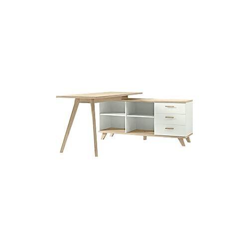 Schreibtisch OSLO mit Sideboard, B 1440 x T 1450 x H 750 mm