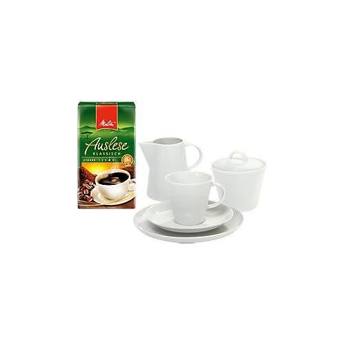 Kaffeegarnitur mit Geschirr Solea, 20-tlg. und 500 g Melitta Auslese klassisch gratis