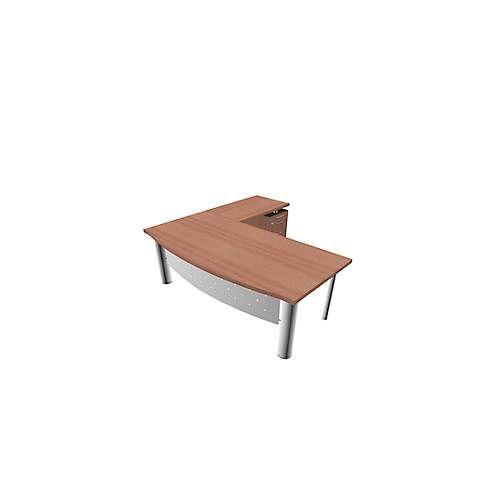 Schreibtisch mit Sideboard X-TIME-WORK, 4-Fuß, Bogen, B 2000 x T 900 x H 740 mm