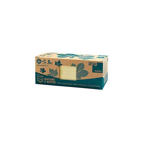 Haftnotizen, B 75 x H 75 mm, Z-Faltung, Recyclingpapier, gelb, 100 Blatt, 12 Blöcke