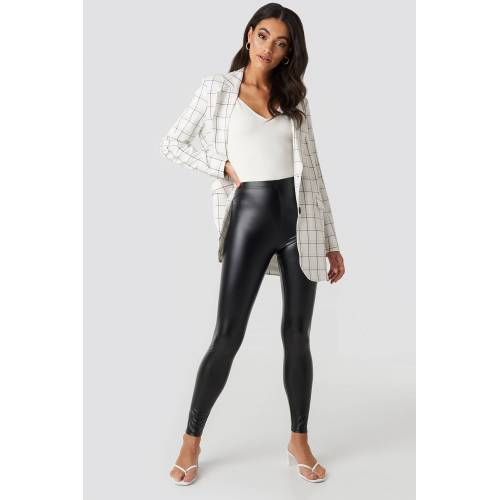 NA-KD Shiny High Waist Leggings - Black