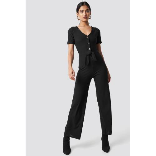 NA-KD Trend Tied Front Jumpsuit - Black