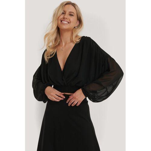 NA-KD Boho Weite Bluse Mit Kitteltaille - Black