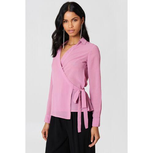 NA-KD Wrap Over Chiffon Shirt - Pink