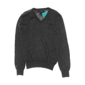 Polo Ralph Lauren Herren Pullover grau Leder Wolle DE 128
