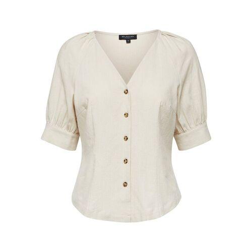 SELECTED Leinenmischfaser Hemd Damen Beige