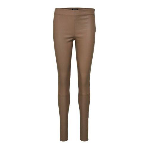 SELECTED Petite 100% Leder Skinny Fit Lederhose Damen Braun