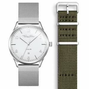 Thomas Sabo SET CODE TS weiße Uhr & khaki Armband grün SET0574-201-6-40 MM