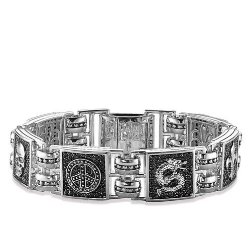 Thomas Sabo Armband Drache, Lilie, Kreuz schwarz A1103-051-11-XL