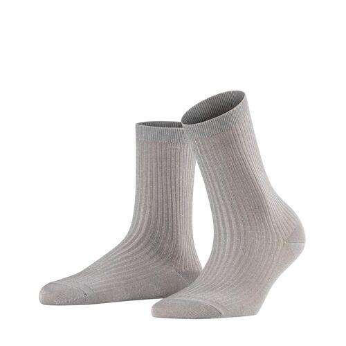 FALKE Shiny Rib Damen Socken, 39-42, Grau, Lurex, 46333-329002