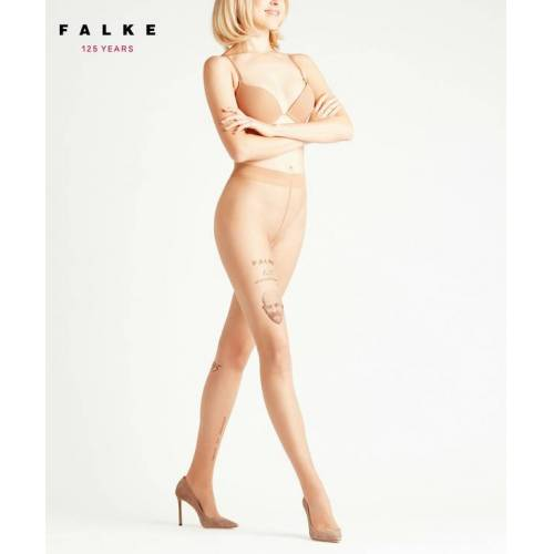 FALKE Tattoo 12 DEN Damen Strumpfhose, L, Braun, Motiv, 41170-416904