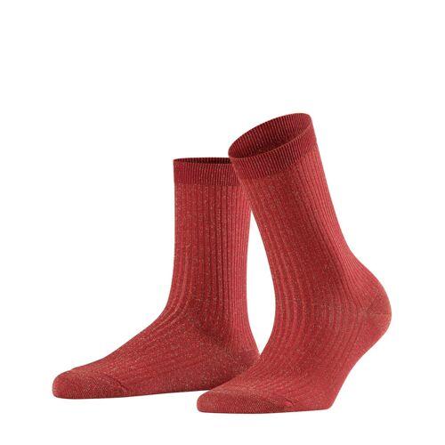 FALKE Shiny Rib Damen Socken, 35-38, Rot, Lurex, 46333-801101