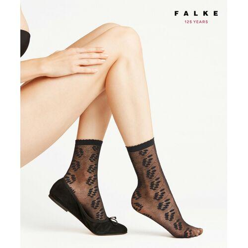 FALKE Dew Drops 15 DEN Damen Socken, 35-38, Schwarz, Blumen, 41437-300901