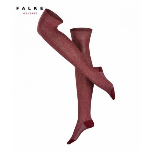 FALKE Raw Sheer Damen Overknees, 35-38, Rot, Lurex, Baumwolle, 46857-810001