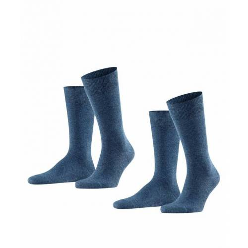 FALKE Swing 2-Pack Herren Socken, 43-46, Blau, Uni, 14633-649003
