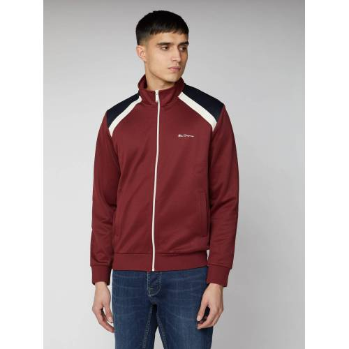 Ben Sherman Script Tricot Shoulder Panel Sweat Top XL Wine