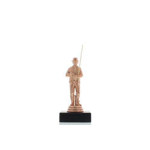 Helm Trophy Figur Angler 13,5cm bronzefarben