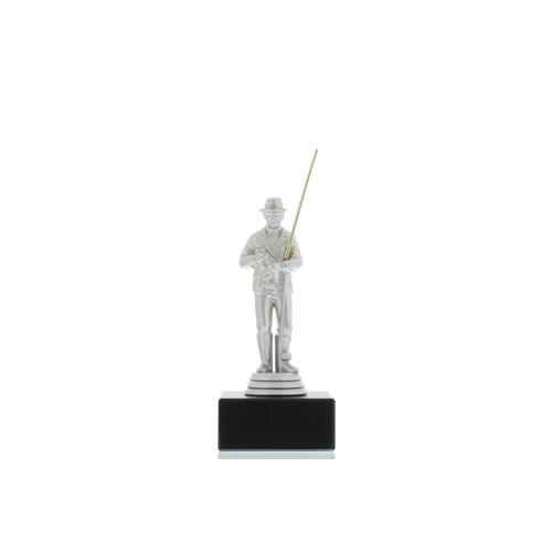 Helm Trophy Figur Angler 14,5cm silberfarben