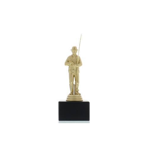 Helm Trophy Figur Angler 15,5cm goldfarben