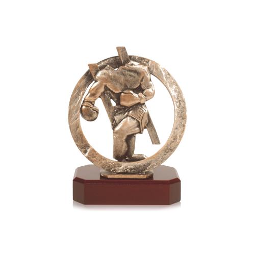 Helm Trophy Zamakfigur Boxer im Kranz 19,0cm