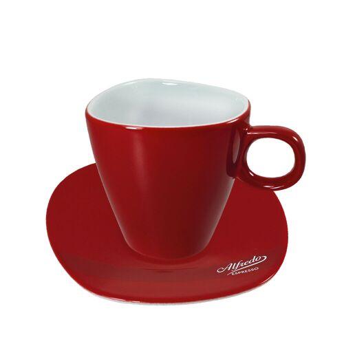 Darboven Alfredo Walküre Milchkaffee-Tasse mit Untertasse 6 Stk, rot